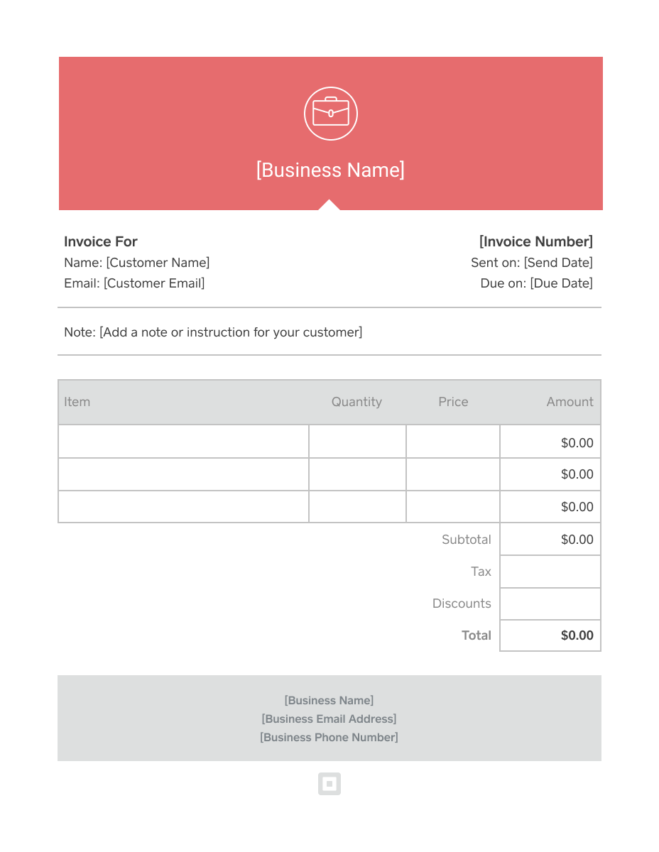 Invoice Template Generate Custom Invoices Square